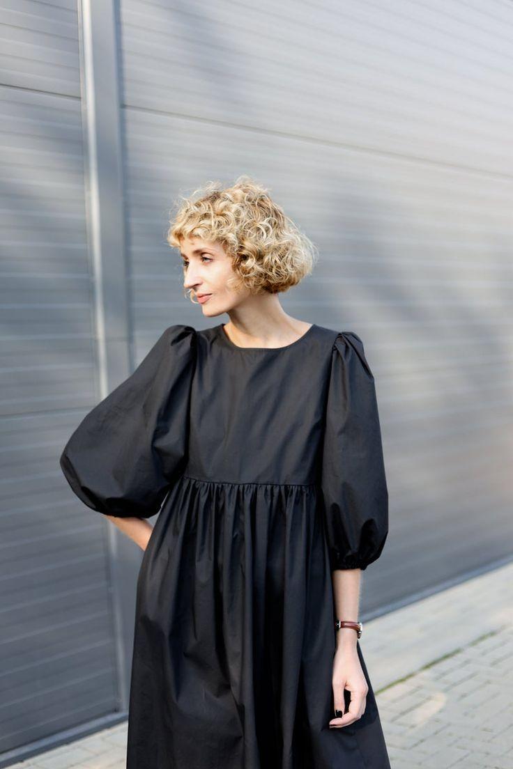 Balloon Sleeve Dress Empire Waist Black Cotton Poplin Dress Offon Clothing Puffy Sleeve Dress Poplin Dress Cotton Poplin Dress [ 1104 x 736 Pixel ]