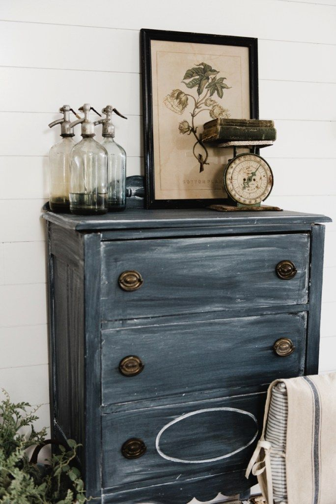 Farmhouse style black dresser makeover - Get the look with black chalk paint & white wax. A great pin for cottage style & farmhouse style decor!
