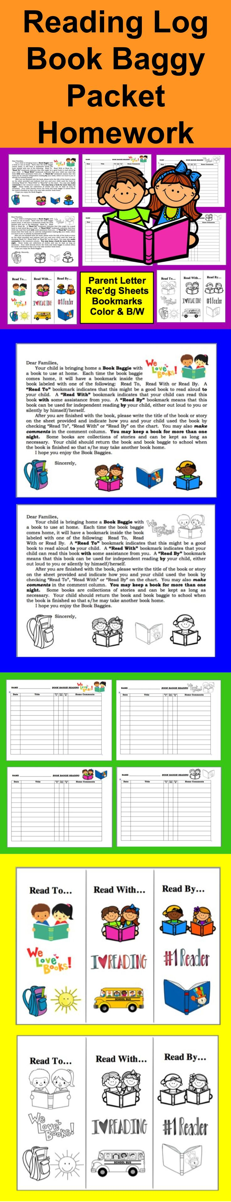 "$ Reading Log Book Baggy and Parent Letter - Reinforce the home/school connection by sending books home with your students. Make the log double sided if you choose. Enclose in a plastic baggie along with a book. A family explanation letter is included. Families check if a book was read ""by"" their child, ""with"" their child or ""to"" their child. That way, you can have days when students select their own books to bring home regardless of level and other days that you assign books.  Bookmarks…"