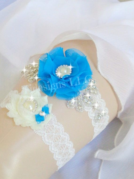 Malibu/Peacock Blue Bridal Garter SetWedding Garter Set
