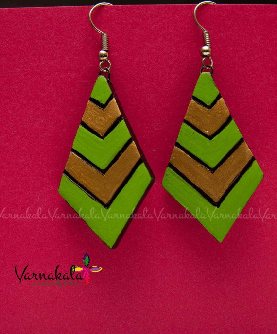 DIAMOND SHAPED EARRING  Green Gold Blue Gold Mossy by Varnakala