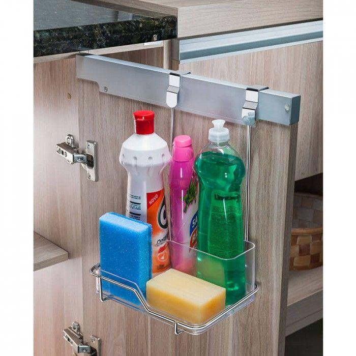 Suporte para Sabão Detergente e Esponja para Encaixe na Porta do Armário