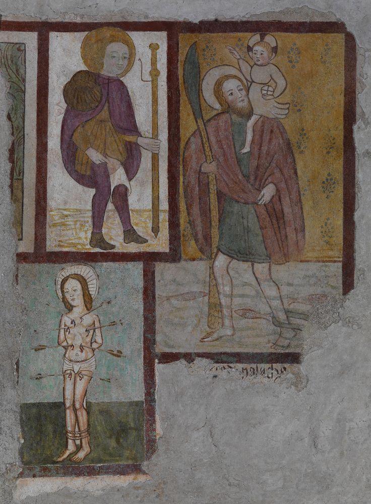 Unknown Artist | Saints Roch, Christopher and Sebastian | Fresco | Santa Maria delle Cinque | Amelia | 15th century