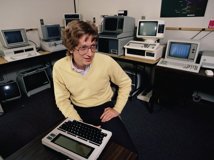 Bill Gates with a TRS80 Model 100