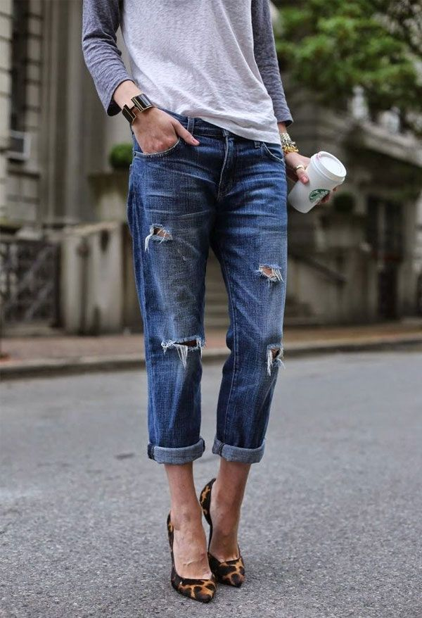 look destroyed jeans coffe starbucks scarpin animal print