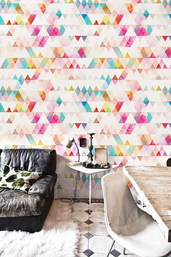 Rainbow Triangle Removable Wallpaper Geometry Mural Etsy Removable Wallpaper Vinyl Wallpaper Modern Wall Decor