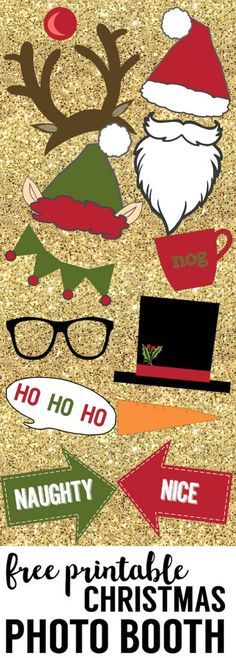 Free Christmas Photo Booth Props Printable. Easy DIY Christmas photo booth props free printable for your Christmas party fun. Christmas photo booth ideas. #papertraildesign #photobooth