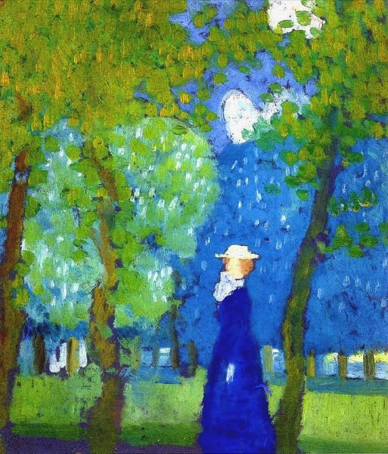"""Maurice Dennis: """" Woman in Blue"""" (French, 1879-1943)."""