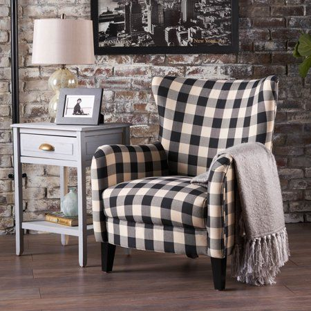 Best Noble House Plaid Fabric Club Accent Chair Black White 400 x 300
