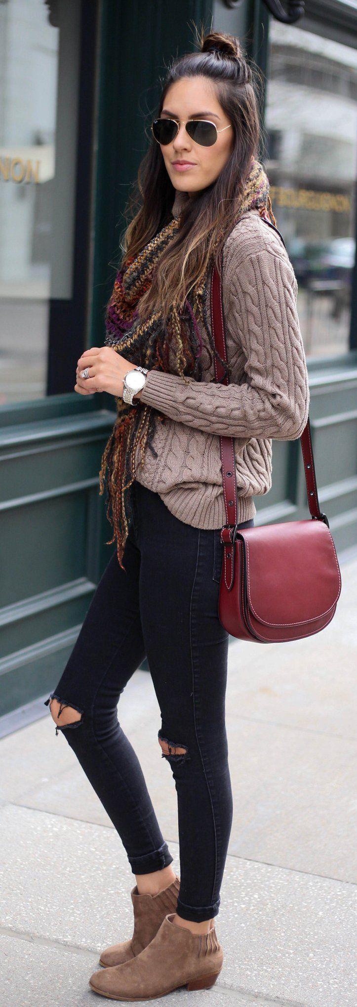 Brown Knit / Red Leather Shoulder Bag / Brown Suede Booties / Black Destroyed Skinny Jeans / Printed Scarf