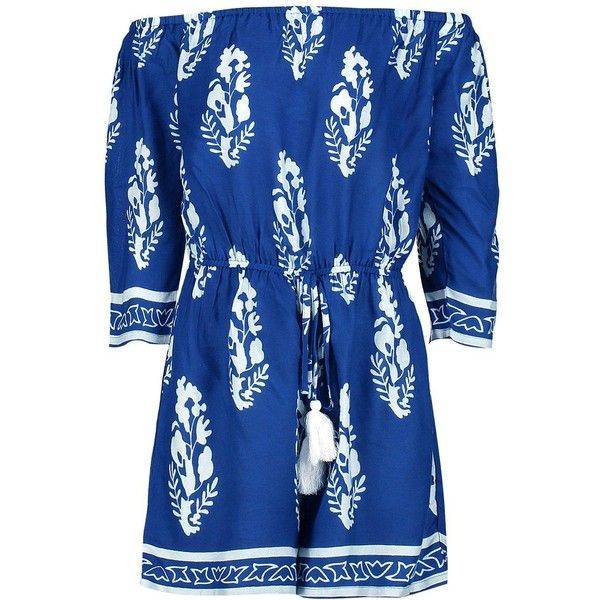 Boohoo Emma Printed Off the Shoulder Playsuit ($30) ❤ liked on Polyvore featuring jumpsuits, rompers, blue rompers, off shoulder romper, playsuit romper, blue romper and off the shoulder romper