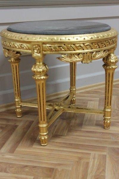 Tisch Antik Couchtisch Gold Marmorplatte Schwarz Kannelierte Beine