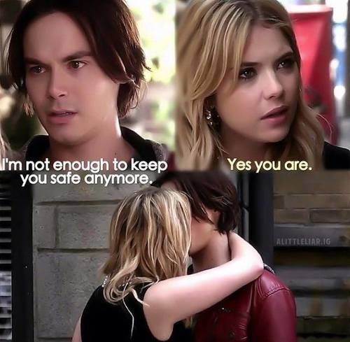 """Caleb Rivers and Hanna Marin quote """"Yes you are."""" PLL #Haleb"""
