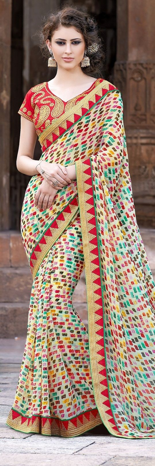 Traditional Prints Border Fancy Party Wear Sarees traditional art, red border work in a beautiful design fancy sarees, with red unstitched heay work blouse.