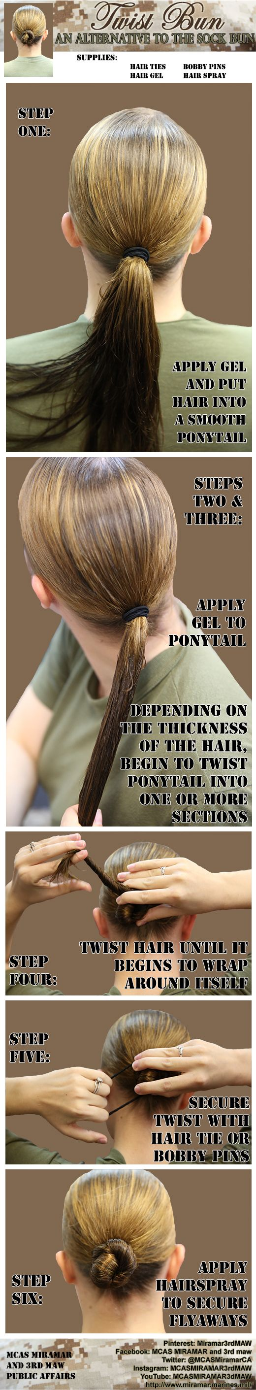 Not a fan of the sock bun? Try this alternative to the traditional military hairstyle. This works great on long or thin hair, but this style can be adapted to all hair types.  For more Marine Corps stories, photos and how-to guides, follow MCAS Miramar and 3rd Marine Aircraft Wing: http://www.pinterest.com/miramar3rdmaw/.