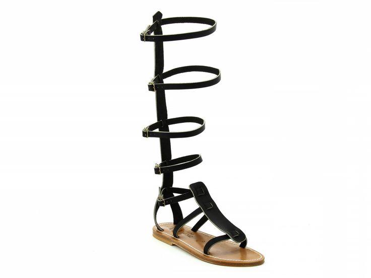 K Jacques Antonin black leather flat gladiator sandals - Italian Boutique €212