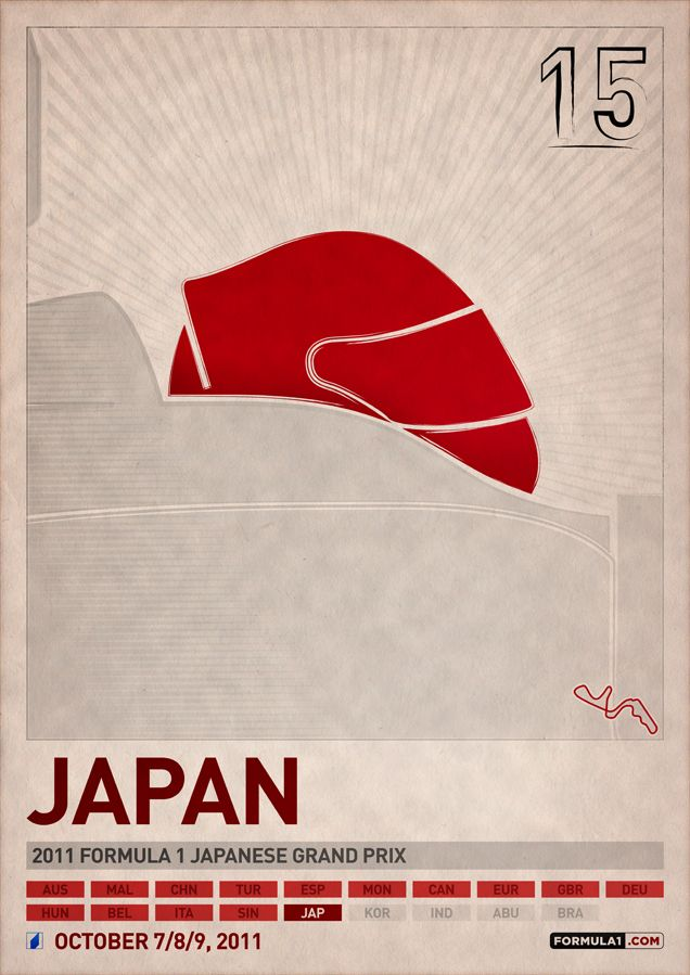Formula 1 2011 Poster Series by PJ Tierney. 15 Japan