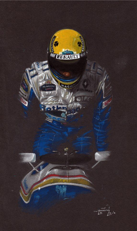Nicolas Cancelier Ayrton Senna 1994. Williams Renault F1. 21x36cm.