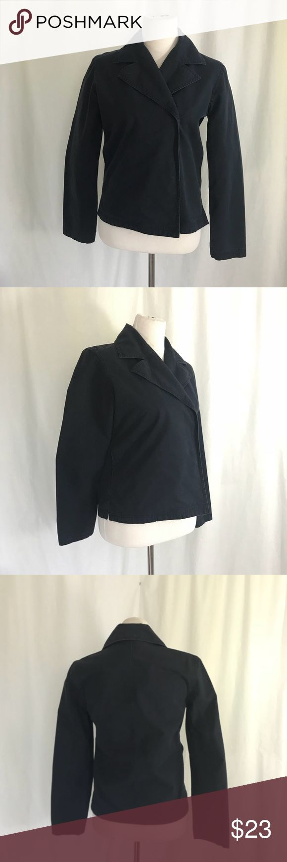 Tommy Hilfiger Navy Canvas Jacket M Great Condition . Lightweight navy jacket. Interior pockets and closes with snaps. Looks lovely when drapes open as well . One tiny mark to lapel where a pin was placed. See photo. Size M Shown on size 6 dress form, Bust 36 Waist 36 Length 23 Tommy Hilfiger Jackets & Coats
