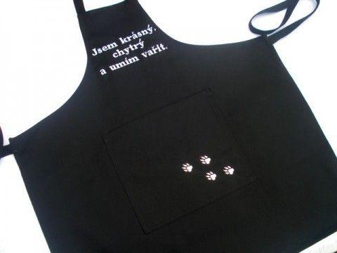 Zástěra -jsem chytrý... modrá kuchyně bavlna grilování stolování černá vyšívání veselý kuchař chňapka vaření hravý zástěra pečení jídlo babička vařit gril chytrý kanafas šití+návrhářství vaří nejlíp vaří.dobře daří šikovný umí