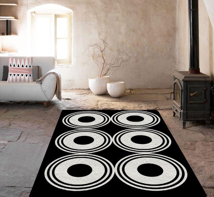 Black And White Rug, Decorative Rug, Geometric Rug, Carpet, Area Rug, Living  Room Decor, Modern Decor, Home Decor, Modern Area Rug
