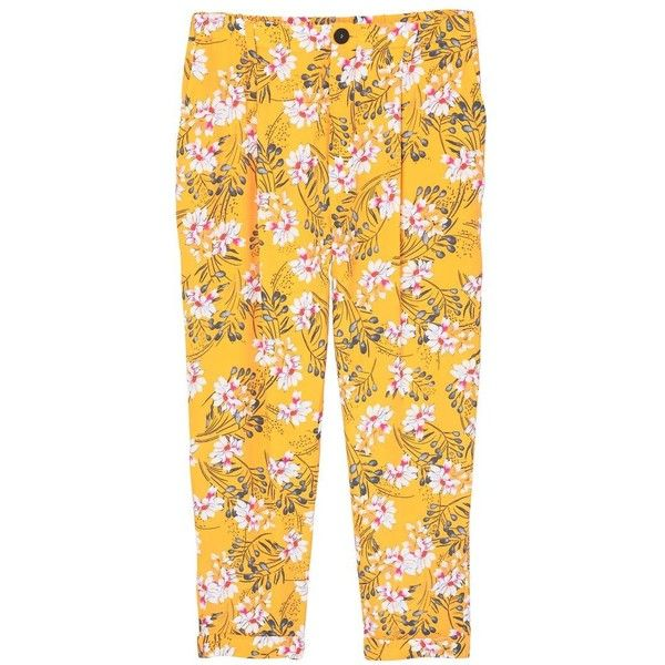 Flowy Printed Trousers ($46) ❤ liked on Polyvore featuring pants, cuffed pants, print pants, mango pants, mango trousers and zip pants