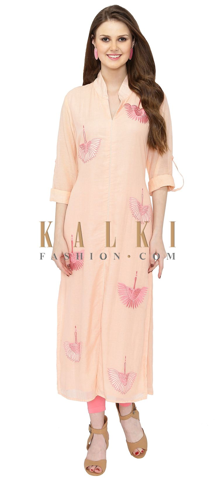 Pink Georgette Kurta Crafted with Resham Embroidery only on Kalki