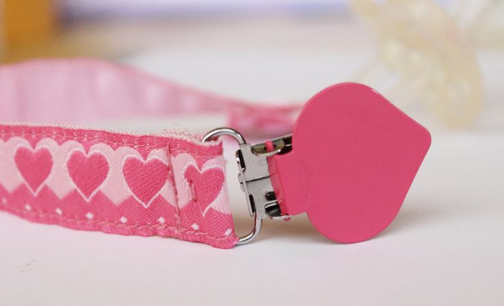 Heart Pink Pacifier Clip, Soothie pacifier, Baby pacifier clip, Binky Clips, Baby Girl pacifier, Paci Clip, Pacifier holder by BlackBunnyCreations on Etsy