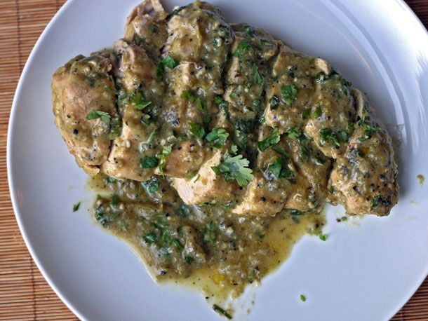 Baked Chicken with Roasted Tomatillo Cream Sauce from Serious Eats ...