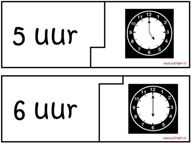 Puzzels Analoog Klokkijken - Hele Uren - Juf Inger