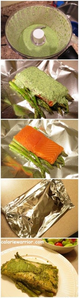 Pesto Salmon Asparagus Foil Pack Recipe - This is a great recipe and also works with green beans!