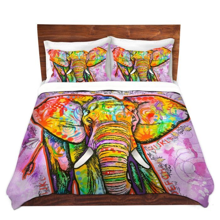 Unique Duvet Twill Queen from DiaNoche Designs by Dean Russo - Elephant