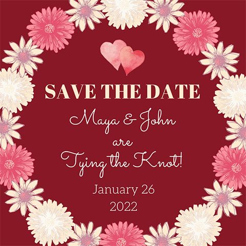 Easy DIY Boho Wedding Save the Date template with daisies and hearts. Created by ArtnerDluxe in Canva. Customize your own version @ https://www.canva.com/artnerdluxe. Art elements © ArtnerDluxe www.artnerdluxe.com #canva #graphicdesign #savethedate #template