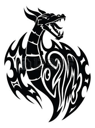 drago tatuaggio: Disegno del tatuaggio del drago, illustrazione d'epoca inciso.