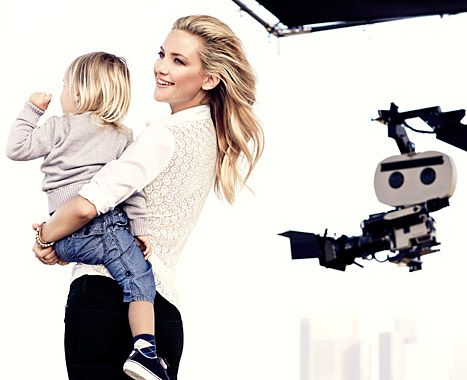 In her new ad campaign for Ann Taylor, Kate Hudson poses with her sons Bing, 2, and Ryder, 10