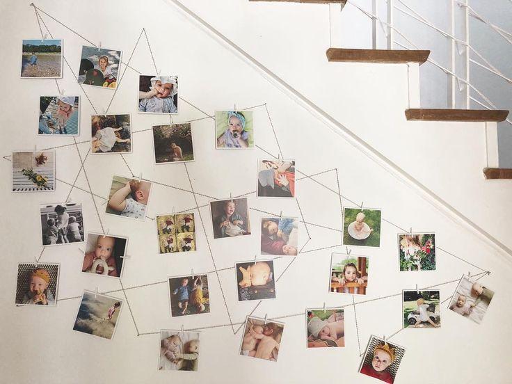 DIY Fotowand – Fotos von der Familie mit Wäschekl…
