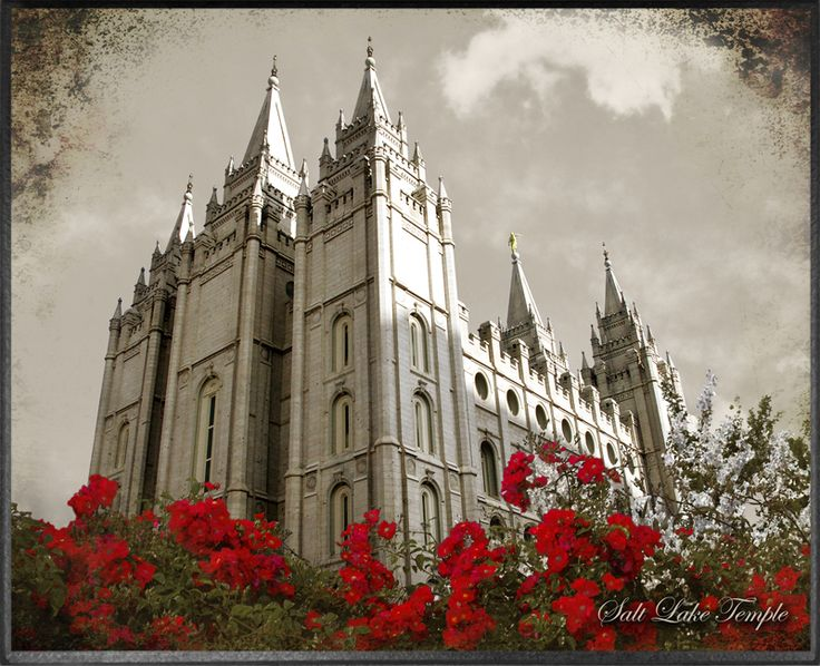 Salt Lake Temple Red Flowers Plaque Personalized Lakes