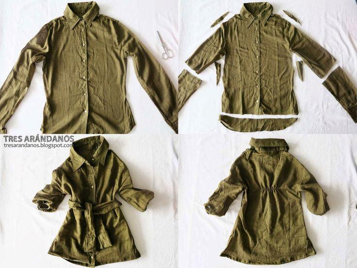 Tres Arándanos: #Vestido de niña a partir de una #camisa vieja - #reciclaje, #diy!