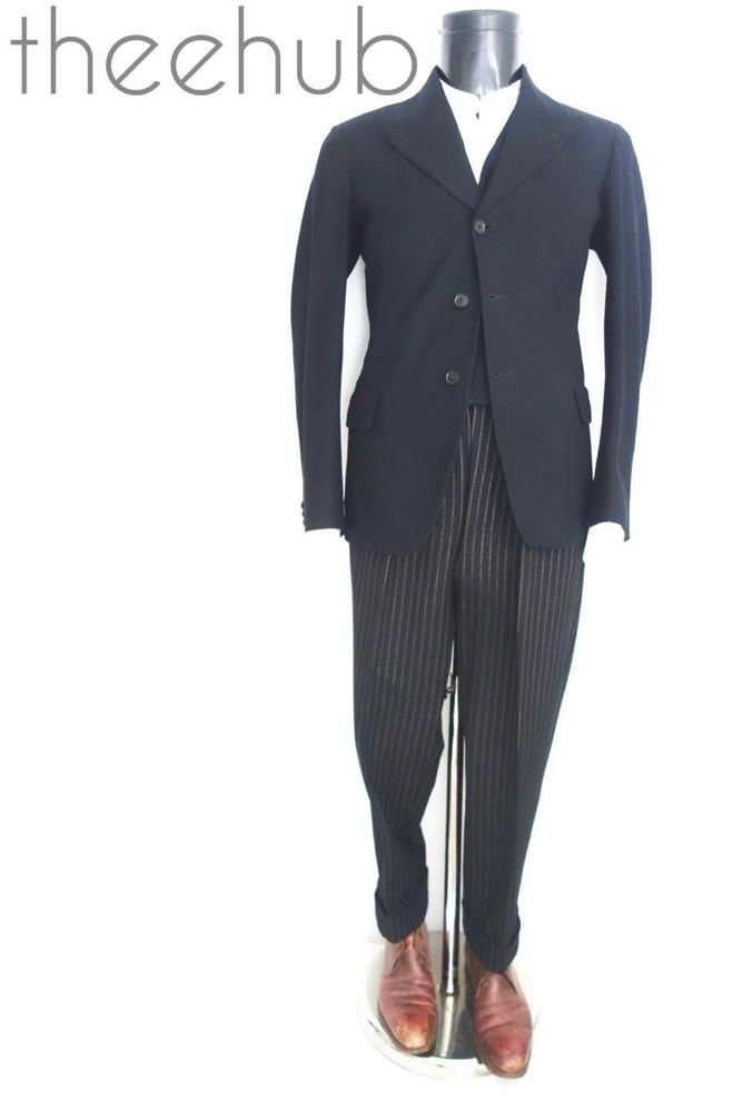 Rare Vtg 1920s Montague Burton Pinstripe Fly Edwardian Trousers 3 Piece Suit