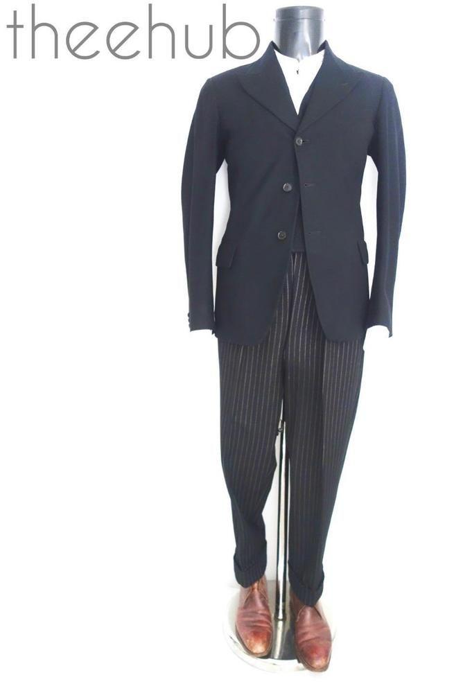 Rare Vtg 1920s Montague Burton Pinstripe Fly Edwardian Trousers 3 Piece Suit