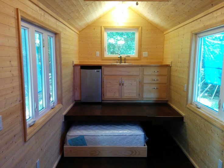 Tiny Home Designs: Tiny House Without A Loft. Bed On The Ground Floor.