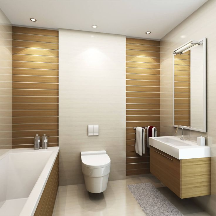 Brown And White Walls With Wall Mounted Toilet