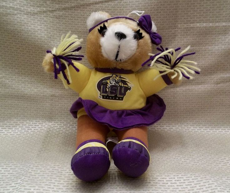 "LSU Cheerleader 11"" Plush Bear Toy Louisiana State University #LSUTigers"