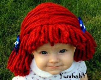 Parrucca raggedy ann, cappello bambino, neonato Costume di Halloween, costume bambino, Raggedy ann costume, costume ragazza, cappelli bambino, prop foto