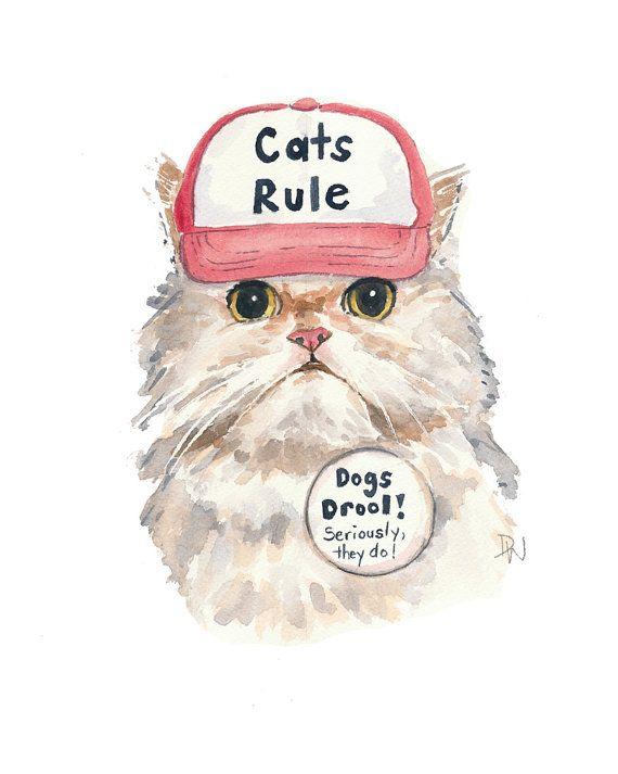Original Cat Watercolour Painting - Cats Rule, Trucker Hat, White Cat, Cat Illustration, 8x10 Painting