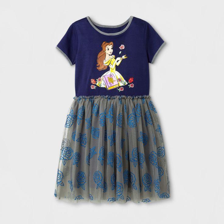 Girls' Disney Princess Belle Tutu Dress - Navy - M (7-8), Blue