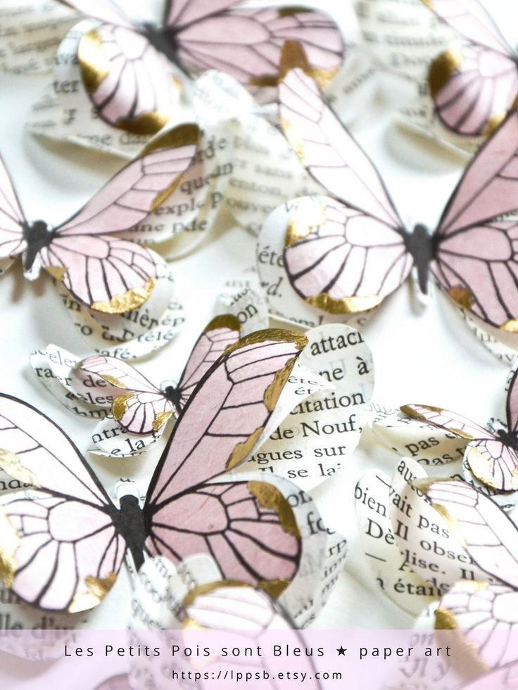 Pink is such a romantic color, specially if it's a blush or pale shade. Add hints of gold and your big day decor will be elegant.  Use these pink and gold butterflies as blush pink and gold wedding decorations or as pink and gold baby shower decorations. Place them randomly across the table or on a wall to create a photo backdrop stand... | Handmade to order by @Les Petits Pois sont Bleus | Paper creations, France