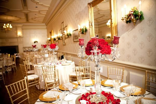 Red and Champagne Wedding Ideas | ... crystal candelabras red ...