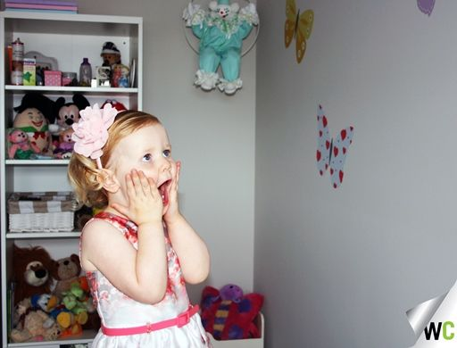 Lee and Kat's daughter Elise was recently surprised by her parents with a butterfly decal in her new bedroom. Her reaction was priceless!