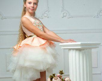 Melocotón flor chica vestido - cumpleaños-Dama de honor-vestido de novia - vestido de Princesa - Satén - vestido - primera comunión-ocasiones de Chicas-Chicas